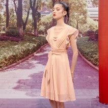 Dress Summer 2020 Light pink S M L XL Mid length dress singleton  Sleeveless commute V-neck middle-waisted Solid color Socket 25-29 years old Yunsimu thought lady Bandage Y0219127344 81% (inclusive) - 90% (inclusive) nylon Polyamide fiber (nylon) 83% polyurethane elastic fiber (spandex) 17%