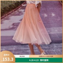 skirt Spring 2020 S M L XL Orange grey Mid length dress commute Natural waist Pleated skirt Type A More than 95% Yunsimu thought polyester fiber Pleated gauze lady Polyester 100% Pure e-commerce (online only)