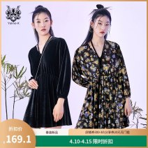 Dress Spring 2021 The color is black S M L XL Middle-skirt singleton  Long sleeves commute V-neck High waist Socket bishop sleeve 25-29 years old Yunsimu thought lady Lace up printing Y1119088129 91% (inclusive) - 95% (inclusive) polyester fiber Polyester 93% polyurethane elastic fiber (spandex) 7%