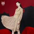 Dress Spring 2021 khaki S M L XL Mid length dress Fake two pieces Long sleeves commute tailored collar Animal design 25-29 years old Type H Yunsimu thought lady Stitched bandage print Y1119018069 More than 95% polyester fiber Polyester 100% Pure e-commerce (online only)