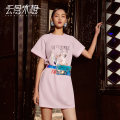 Dress Summer of 2019 Pink S M L XL Mid length dress singleton  Short sleeve commute Crew neck Socket routine 25-29 years old Type H Yunsimu thought lady Zipper printing 30% and below polyester fiber