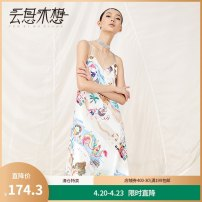 Dress Spring of 2018 Decor S M L XL Mid length dress singleton  Sleeveless commute V-neck Decor Socket A-line skirt camisole 25-29 years old Type A Yunsimu thought lady printing More than 95% polyester fiber Polyester 100%