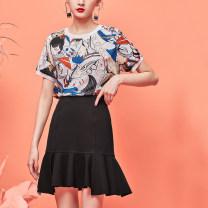 skirt Summer 2020 S M L XL Black green Short skirt commute High waist Ruffle Skirt Solid color Y0220017553 51% (inclusive) - 70% (inclusive) Yunsimu thought Viscose Lotus leaf edge lady Viscose fiber (viscose fiber) 57% polyamide fiber (nylon fiber) 34% polyurethane elastic fiber (spandex fiber) 9%