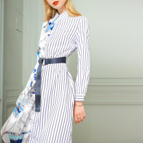 Dress Spring 2021 Long sleeve short sleeve S M L XL 2XL Mid length dress singleton  Long sleeves commute other Loose waist stripe Single breasted A-line skirt routine Others 30-34 years old Type X Muhe lady Button L510 More than 95% other polyester fiber Polyester 100% Pure e-commerce (online only)