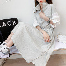 Dress Summer 2021 Black 9 days grey 9 days M L longuette singleton  Long sleeves commute Crew neck High waist Solid color Socket A-line skirt routine 25-29 years old Type A Qimi Splicing QM2103094 31% (inclusive) - 50% (inclusive) polyester fiber Polyester 50% Cotton 30% viscose (viscose) 20%