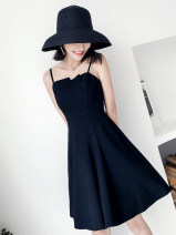 Dress Summer 2021 Black 868 S,M,L,XL,XXL longuette singleton  Short sleeve commute routine 18-24 years old Korean version