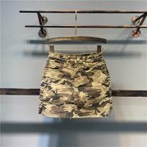skirt Spring 2021 S,M,L,XL camouflage Short skirt Versatile High waist A-line skirt Decor Type A 71% (inclusive) - 80% (inclusive) Denim cotton Pocket, zipper