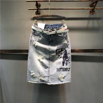 skirt Summer of 2019 S,M,L,XL,2XL Picture color Mid length dress Versatile High waist Denim skirt Solid color Type A Denim cotton Tassels, hand worn, buttons, zippers