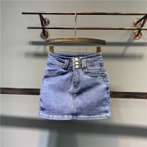 skirt Spring 2021 S,M,L,XL Blue, black, white, gray Short skirt Versatile High waist skirt Solid color Type H 71% (inclusive) - 80% (inclusive) Denim cotton Pocket, button, zipper