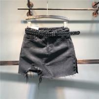 skirt Winter of 2018 S,M,L,XL Black, light blue Short skirt Versatile High waist A-line skirt Solid color Type A Denim cotton Hand worn, pockets, buttons, zippers