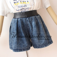 Jeans Fall 2017 Gray / the picture is a bit out of color! , snowflake Blue / the picture has a little color difference! M / with a certain thickness! , L / with a certain thickness! shorts High waist thickening Make old, wash and whiten Heavy denim Dark color 5#