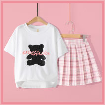 suit Han Han Xiang 3426 + 4012 cheese peach (bow tie) 120cm 130cm 140cm 150cm 160cm 170cm female summer leisure time Short sleeve + skirt 2 pieces routine No model Socket nothing lattice other yy21b3426b-a Class B Other 100% Spring 2021 Chinese Mainland