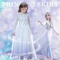 Dress Spring 2021 100cm 110cm 120cm 130cm 140cm longuette singleton  Long sleeves Sweet Crew neck middle-waisted Solid color Socket Princess Dress routine Under 17 Type A Goo bean GT307 More than 95% other cotton Cotton 95% other 5% princess