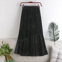 skirt Spring 2021 Mid length dress High waist Ruffle Skirt Other / other Ruffles, stitching, solid