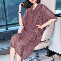 Dress Summer of 2018 Deep rose S M L XL XXL XXXL Mid length dress Two piece set elbow sleeve commute stand collar Loose waist stripe Single breasted Big swing routine Others 30-34 years old Type H Ajido lady Button print on pocket A1695 More than 95% other other Other 100%