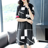 Dress Summer of 2019 black S M L XL XXL XXXL Middle-skirt singleton  Short sleeve commute Crew neck Loose waist other Socket Ruffle Skirt routine Others 30-34 years old Type H Ajido Simplicity Stitching thread printing J0702 30% and below other nylon Viscose (viscose) 76% polyamide (nylon) 24%