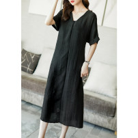 Dress Summer 2021 black S M L XL XXL XXXL longuette singleton  Short sleeve commute V-neck Loose waist Solid color Socket A-line skirt routine Others 35-39 years old Type A Ajido Korean version Frenulum A96361 More than 95% other Other 100% Pure e-commerce (online only)