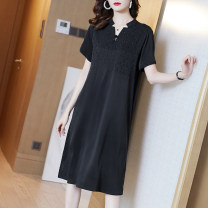 Dress Summer 2020 Black jujube S M L XL XXL XXXL Mid length dress singleton  Short sleeve commute stand collar Loose waist Solid color Socket A-line skirt Others 35-39 years old Type A Ajido lady Embroidery 30% and below other Lycra Lycra