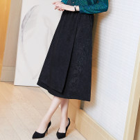 skirt Spring 2021 S M L XL XXL XXXL black Mid length dress commute High waist A-line skirt Solid color Type A 35-39 years old A93976- More than 95% Ajido polyester fiber lady Polyester 97% polyurethane elastic fiber (spandex) 3% Exclusive payment of tmall