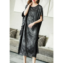 Dress Summer 2021 black S M L XL XXL XXXL longuette singleton  Short sleeve commute Crew neck Loose waist Solid color Socket A-line skirt routine Others 35-39 years old Type A Ajido Korean version Ruffle print A96686 More than 95% other Other 100% Pure e-commerce (online only)