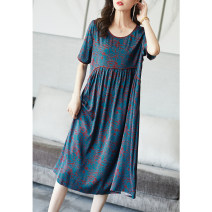 Dress Summer 2021 Decor S M L XL XXL XXXL Mid length dress singleton  Short sleeve commute Crew neck Loose waist Big flower Socket Big swing routine Others 35-39 years old Type A Ajido lady Pleated pocket stitching A96515 More than 95% silk Mulberry silk 100% Pure e-commerce (online only)