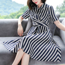Dress Summer 2020 stripe S M L XL XXL XXXL Mid length dress singleton  Short sleeve commute Polo collar Elastic waist stripe Socket A-line skirt routine Others 30-34 years old Type A Ajido lady Frenulum More than 95% polyester fiber Polyester 100% Pure e-commerce (online only)