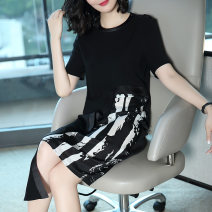 Dress Summer of 2018 black S M L XL XXL XXXL Mid length dress singleton  Short sleeve commute Crew neck middle-waisted Abstract pattern Socket Irregular skirt routine Others 35-39 years old Type H Ajido lady Patchwork button print More than 95% polyester fiber Polyester 100%