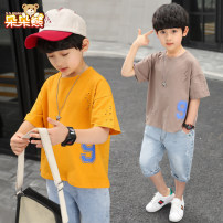 suit Bear after bear male summer Korean version Short sleeve + pants 2 pieces Thin money There are models in the real shooting Socket nothing Solid color other children Giving presents at school Class B Cotton 100% Summer 2020 Five, six, seven, eight, nine, ten, eleven, twelve, thirteen Suzhou