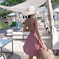 Dress Summer 2021 Black, pink XS,S,M,L Short skirt singleton  Sleeveless commute V-neck High waist Solid color Socket Big swing other camisole Type A Other / other Korean version backless Short skirt for photo taking other