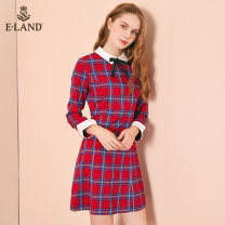 Dress Spring of 2018 Red / 20 Navy / 59 155/XS 160/S 165/M 170/L Mid length dress singleton  Long sleeves commute Polo collar High waist lattice zipper other routine Others 25-29 years old E·LAND literature EEOW82151A 51% (inclusive) - 70% (inclusive) polyester fiber Pure e-commerce (online only)