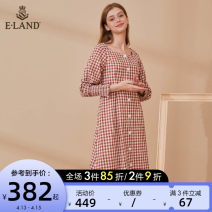 Dress Autumn 2020 Red (20) red 160/S 165/M 170/L Mid length dress singleton  Long sleeves Sweet square neck lattice Single breasted other 25-29 years old E·LAND EEOWA49C1N 51% (inclusive) - 70% (inclusive) cotton Cotton 51% polyester 49% Same model in shopping mall (sold online and offline)
