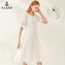 Dress Summer 2020 155/XS 160/S 165/M 170/L Mid length dress singleton  Short sleeve Sweet One word collar Solid color puff sleeve 25-29 years old E·LAND Gouhua hollow More than 95% cotton Cotton 100% Same model in shopping mall (sold online and offline)