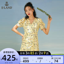 Dress Spring 2021 155/XS 160/S 165/M 170/L Mid length dress singleton  Short sleeve Sweet V-neck middle-waisted Broken flowers zipper Ruffle Skirt puff sleeve 25-29 years old Type A E·LAND fold More than 95% polyester fiber Polyester 100% Ruili Pure e-commerce (online only)