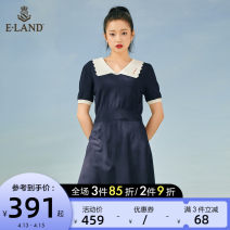Dress Spring 2021 Navy (59) Navy (50) blue 155/XS 160/S 165/M 170/L Mid length dress singleton  Short sleeve Sweet Doll Collar High waist Solid color other A-line skirt puff sleeve 25-29 years old Type A E·LAND EEOKB6301I 31% (inclusive) - 50% (inclusive) nylon Ruili Pure e-commerce (online only)