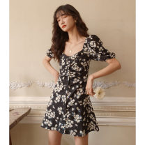 Dress Summer 2020 black XS S M L Short skirt singleton  Short sleeve commute square neck High waist Decor Socket A-line skirt puff sleeve 18-24 years old Type A Nobiaor / nobion printing N-q80 ink More than 95% polyester fiber Polyester 100% Pure e-commerce (online only)