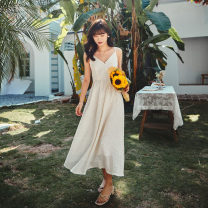 Dress Spring 2021 white S M L XL longuette singleton  Sleeveless commute V-neck High waist Solid color Socket Big swing camisole 25-29 years old Type A Nobiaor / nobion Retro backless N-20Q117 More than 95% Chiffon polyester fiber Polyester 100%