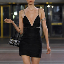 Dress Summer of 2019 black L,M,S Short skirt singleton  Sleeveless street V-neck High waist Solid color zipper other other camisole Type X 51% (inclusive) - 70% (inclusive) Silk and satin polyester fiber Europe and America