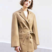 suit Spring of 2019 khaki L,M,S Long sleeves Medium length Straight cylinder tailored collar Frenulum street routine Solid color 25-29 years old 71% (inclusive) - 80% (inclusive) polyester fiber Lace up