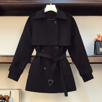 Women's large Spring 2021 Black, khaki Large XL, large XXL, large XXL, large XXXXL, large L Jacket / jacket singleton  commute Self cultivation thick Cardigan Long sleeves Solid color Korean version Polo collar Medium length polyester Three dimensional cutting routine
