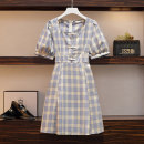 Women's large Summer 2021, spring 2021 Picture color Large XL, large XXL, large XXL, large XXXXL, large L Dress singleton  commute easy moderate Socket Short sleeve lattice Korean version square neck polyester Three dimensional cutting other Medium length