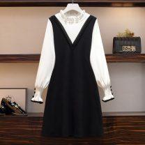 Women's large Spring 2021 black Dress singleton  commute Self cultivation moderate Socket Long sleeves Korean version Medium length Princess Dress