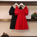 Women's large Summer 2020 Red, black Large XL, large XXL, large XXL, large XXXXL, large L Dress singleton  commute easy moderate Socket Solid color Korean version Three dimensional cutting Medium length
