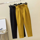 Women's large Spring 2021 Yellow, black Large XL, large XXL, large XXL, large XXXXL, large L trousers singleton  commute easy moderate Solid color Korean version polyester Three dimensional cutting pocket Ninth pants