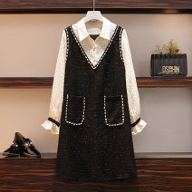 Women's large Autumn 2020 Picture color Large XL, large XXL, large XXL, large XXXXL, large L Dress Fake two pieces commute easy moderate Socket Long sleeves Solid color Korean version Polo collar polyester routine Nail bead Medium length other