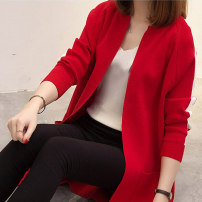 Women's large Autumn 2020 sweater singleton  commute easy moderate Cardigan Long sleeves Solid color Korean version Medium length polyester Three dimensional cutting routine pocket