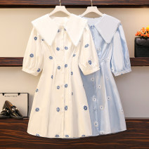 Women's large Summer 2021 White, blue Big L, big XL, big M, big 2XL, big 3XL, big 4XL Dress singleton  commute easy moderate Socket Short sleeve Dot Korean version other polyester Three dimensional cutting routine Medium length