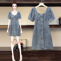 Women's large Summer 2021 Open back Large XL, large XXL, large XXL, large XXXXL, large L Dress singleton  commute Self cultivation moderate Socket Short sleeve Solid color Korean version other Denim Three dimensional cutting routine Medium length
