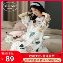 Nightdress Li Shifang D206796 - white - cartoon zfnf210 - white - avocado lishifang - 1 lishifang - 2 lishifang - 3 lishifang S M L XL XXL XXXL Cartoon Short sleeve pajamas longuette summer Cartoon animation youth Crew neck cotton printing More than 95% pure cotton D206796 200g and below Summer 2020