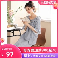 Nightdress Li Shifang M L XL XXL Sweet Short sleeve pajamas longuette summer Solid color youth Crew neck cotton Lotus leaf edge More than 95% pure cotton 200g and below Summer 2020 Cotton 100% Pure e-commerce (online only)