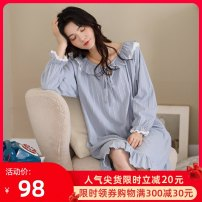 Nightdress Li Shifang C2072191 C2072208 C2072179 3 4 5 6 7 M L XL XXL Sweet Long sleeves pajamas longuette autumn Solid color youth Crew neck cotton Lotus leaf edge More than 95% pure cotton C2072191 220g Autumn 2020 Cotton 100% Pure e-commerce (online only)